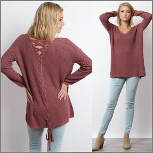 NEW  Mauve Lace-Up Back Sweater